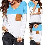 Moda Donna Multicolore Patchwork Tasca Maglietta,POLPqeD T-Shirt Estate Casuale Elegante Semplice Colore Puro Sciolto Tops O-Collor Manica Lunga Camicetta