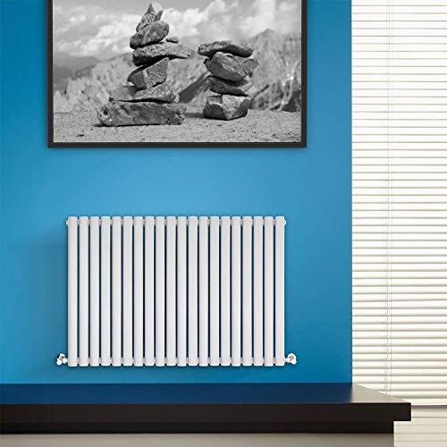BestBathrooms Design-Heizkörper Horizontal Weiß - 600 x 1180 mm - Premium Paneelheizkörper für Zentralheizung - Einlagig - Perfekt für Küche, Bad & Wohnzi mmer