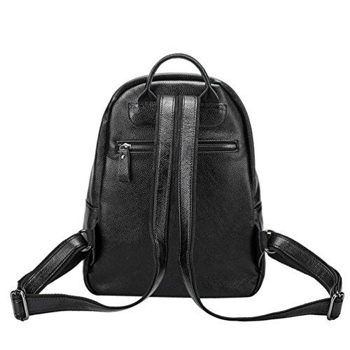 b0d791c06d661 NiSeng Damen Retro Pu Leder Schule Outdoor Rucksack Daypacks Backpack  Schultertasche Reiserucksack Schwarz ...