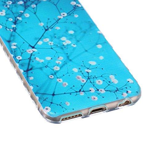 Ukayfe iPhone 6 Plus Coque, iPhone 6 Plus / 6s Plus Silicone Coque Classique Anti-choc Combo Housse Anti-poussière Etui Protecteur Ultra mince Case Cover Housse de Protection Cas en caoutchouc Souple  Plum Fleur