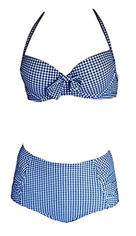 Maillot De Bain Vichy Bleu - Maillot de bain 2 pièces push up