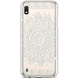 Coque pour Samsung Galaxy A10 Coque Transparente Motif Jolie Fleur Animé Housse de téléphone en Silicone Gel TPU Souple Ultra-Mince Cristal Clair Soft Case Étui Galaxy A10,Mandala Blanc