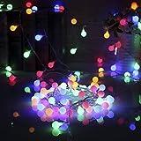 Vorally 13M 100er LED Lichterkette, Globe Lichterkette Multi-colored Innen/Aussen Sternen Lichterkette DC31V EU-stecker Netzteil (Multi-colored)
