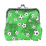 COOSUN Fußball-Tor und Fußball Leder Geldbörse Schnappverschluss-Kupplungs-Münzen-Mappe Klein mehrfarbig