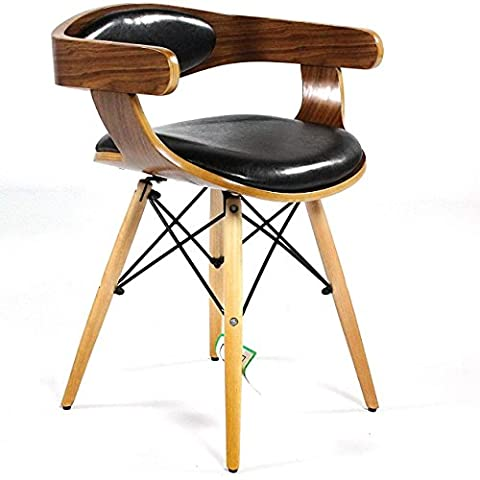 Charles Jacobs Retro Low Back Chairs - Walnut With Black