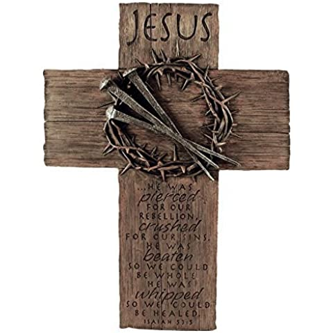 Lighthouse Christian Products Cast Stone Jesus Nails & Crown Wall Cross, 11 x 15