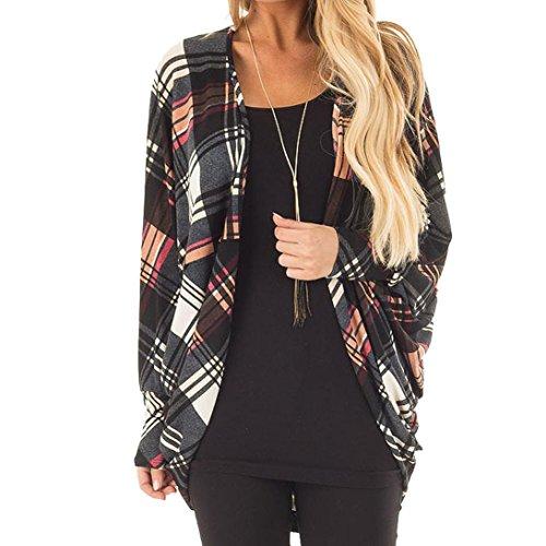 Tefamore Femmes Longues Vestes Automne Imprimé Lattice Imprimé Mesdames Manteau Cardigan Outwear (XL, Multicolore)