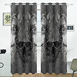 JSTEL Totenkopf Wolf Vorhänge Panels Verdunklung Blackout Tülle Raumteiler für Terrasse Fenster Glas-Schiebetür Tür 139,7x 213,4cm, Set von 2