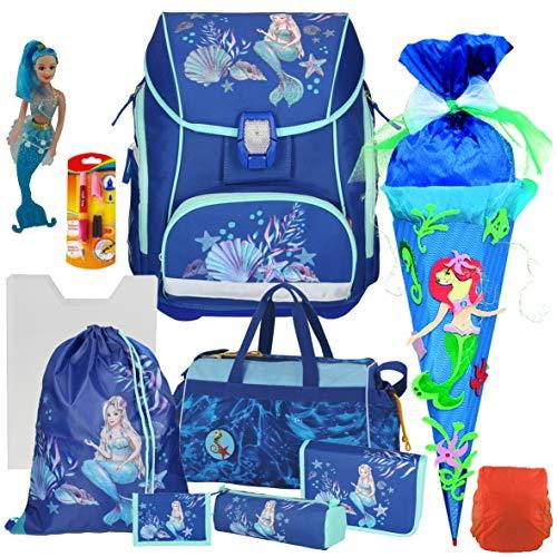 Spirit Mermaid Pro Light -Schulranzen-Set mit BLINKENDEM LED-Schloss 11tlg. mit Sporttasche, Bastelschultüte und Regensicherheitshülle, praktische Heftbox - Meerjungfraufigur und Füller GRATIS