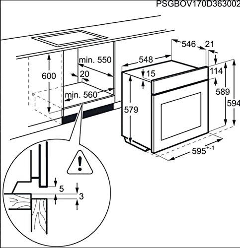 AEG BSE782320M - Horno (Medio, Horno eléctrico, 73 L, 3500 W, 73...