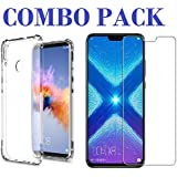 ADRY Combo Offer - Tempered Glass & Bumper Transparent Back Cover_Premium Quality Screen Guard And Soft Case Cover For Huawei Honor 8X