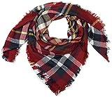 styleBREAKER quadratischer XXL Schal, Deckenschal mit schottischem Tartan Plaid Karo Muster und Fransen, Unisex 01018136, Farbe:Bordeaux-Gelb-Blau