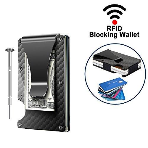 2018 Updated Version, Minimalist Carbon Fibre Slim Wallet,Money Clip,Front Pocket Wallet,RFID Blocking Credit Card Holder Wallet for Men and Women