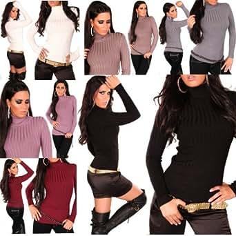 Feinstrick Rollkragenpulli Strickpulli Rollkragenpullover Pullover Pulli Neu Fein Damen Pullover (L/XL, Bordeax)