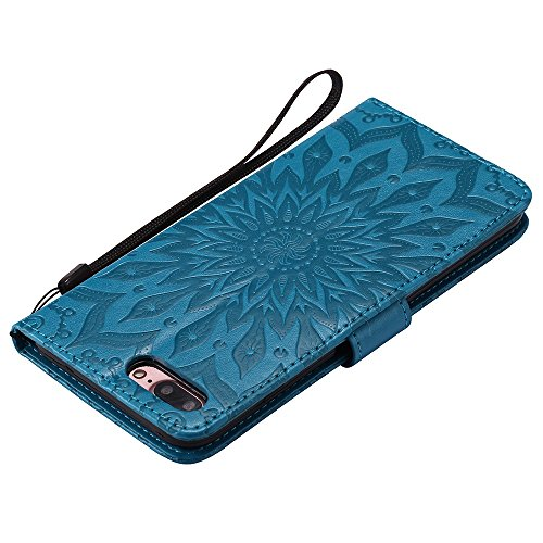 EKINHUI Case Cover Für Apple IPhone 7 Plus Case, Prägen Sonnenblumen Magnetic Pattern Premium Soft PU Leder Brieftasche Stand Case Cover mit Lanyard & Halter & Card Slots ( Color : Red ) Blue