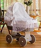 ComfortBaby ® Snuggly Baby Stubenwagen mit Moskitonetz - komplette 'all inclusive' Ausstattung - Zertifiziert & Sicher (Grau-Weiß)