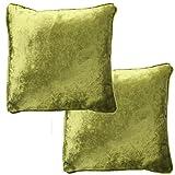 McAlister Textiles Luxury Kollektion | 2er Packung Glänzender Samt Zierkissen mit Füllung 40cm x 40cm in Lindgrün | Deko Kissen für Sofa, Couch, Bett in luxuriösem Designer Plüsch