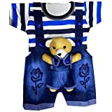 TENDERCARE Baby boy & Baby Girl Denim Dungaree Set with Tshirt || Dress and Clothes for Baby boy & Baby Girl (0-6 Months) (Bl