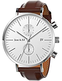 June & Ed Cuarzo Acero Inoxidable Correa Reloj de pulsera para Hombre con la ventana del dial de cristal de zafiro W-0020