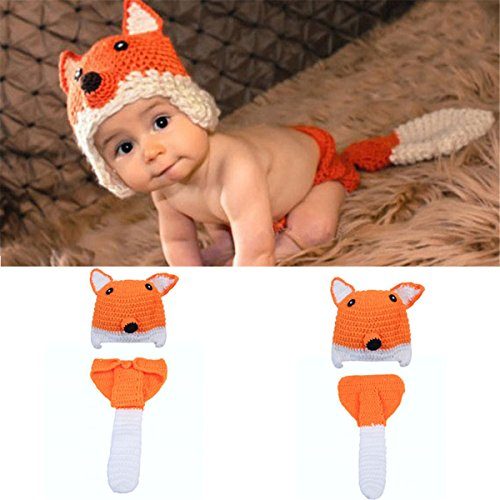 ZZHK Baby Fotografie Requisiten Baby Fotografie Hand Made Little Fox Kostüme-Baby Phantasie dress0-3 Monate ()