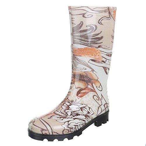 Damen Schuhe, GST-F901P, REGENSTIEFEL GUMMISTIEFEL Braun Orange 21