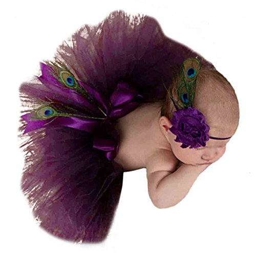 renes Baby Foto Kostüm (Rock+ Stirnband) Bekleidungsset Kostüm für neugeborene Mädchen Baby Rock Tutu Kleidung Prop Outfits Bekleidung Set Für 0-1 Monate - Lila (Pfau Kostüme Baby)