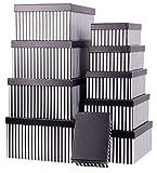 Mediablue Aufbewahrungsboxen Schachteln Geschenkbox im 10er Set mit Deckel Verschiedene Designs (Streifen Breit schwarz)