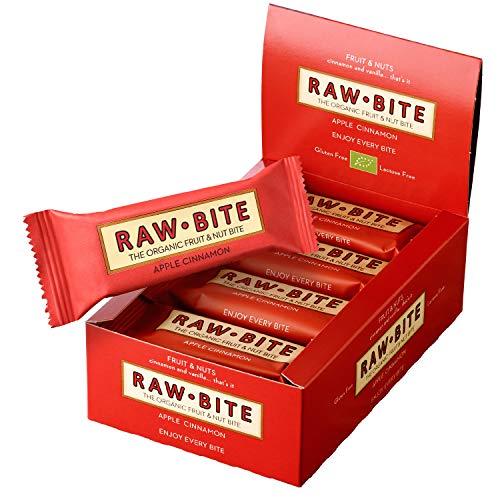 RAWBITE Bio Frucht-Nuss-Riegel APPLE CINNAMON in der 12er Box - Vegan, glutenfrei & laktosefrei - Bio Energieriegel in der Großpackung - Fruchtriegel mit mit Vanille & Beeren, 12er Pack (12 x 50 g)