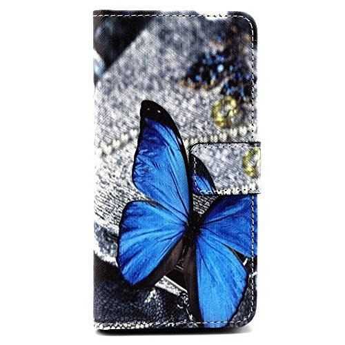 Hülle für LG Spirit C70 Tasche PU Leder Wallet Case Folie Bookstyle Magnetverschluss Magnetic Schutz Cases Flip Cover Schutzhülle für LG Spirit 4G LTE H440N C70 Lederhülle Handytache mit Ständerfunktion Kartenfächer - Blauer Schmetterling