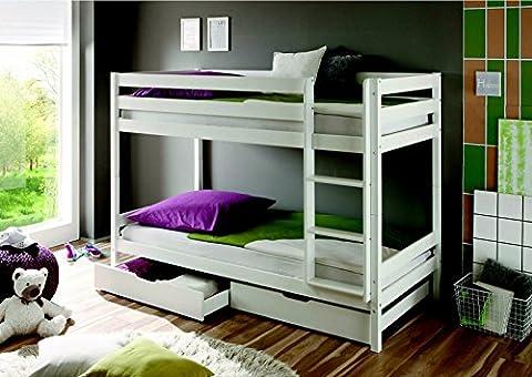 Lit superposé Kevin Pin Massif couleur blanc partie Bar en deux lits