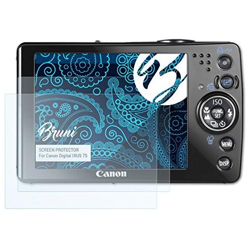Bruni Schutzfolie kompatibel mit Canon Digital IXUS 75 Folie, glasklare Displayschutzfolie (2X) Canon Ixus 75 Digital Kamera