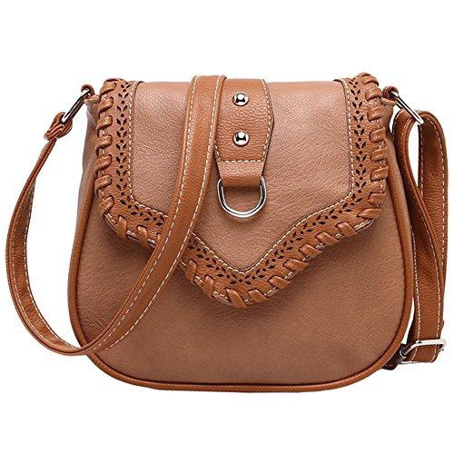 donna pacchetto diagonale - SODIAL(R)donna moda PU pelle tessere pacchetto diagonale£¨Viola£© Marrone chiaro
