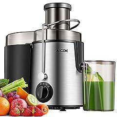 Idea Regalo - Aicok Centrifuga, Estrattore di Succo a Freddo, Estrattore Frutta e Verdura, 2 Contenitori e Spazzola per Succo più Nutriente, Funzione Anti-Intasamenti, Acciaio Inox