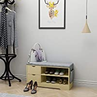 Vanimeu Shoe Bench, Shoe Rank Storage 2 Tier Hallway Cabinet with Padded Seat, Living Room Furniture, 45 x 30 x 80 cm