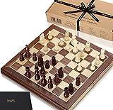 Jaques Jeu d'échecs Pliant 15 Pouces Complet avec pièces d'échec de 3 Pouces - Jeu d'échecs de qualité Depuis Plus de 150 Ans