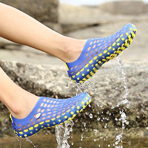 Suaves Sandálias Sapatos Da Moda Buraco-de Espécies Para Os Homens, As Mulheres Escorregar Asl2130 Respirável Resistente Azul