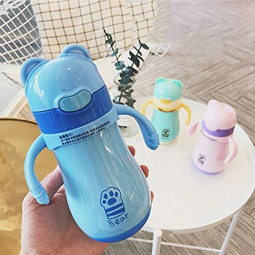 ROIY Bicchiere Isolante Bicchiere For Bambini Uomo E Donna Bicchiere For Bebè Con Tazza In Paglia Bicchiere For Isolante For Bambini Con Manico Bicchiere For Asilo Bicchiere Blu Corpo Thermos For Gatt