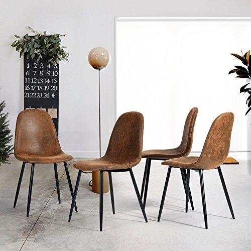 Set di 4 sedie da Pranzo Retro Vintage Pelle Scamosciata Scamosciata Marrone con Gambe Nere