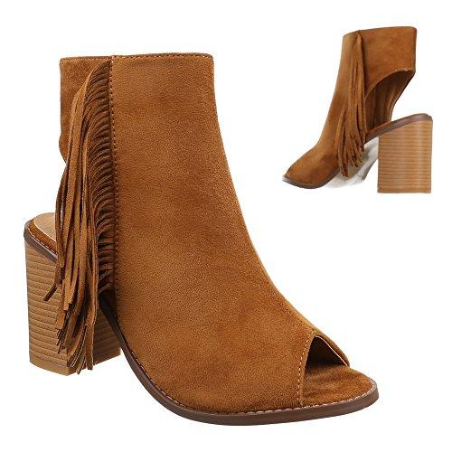 Fh Pio Toe 1 Camelo Fransen Sapatos Bombas Senhoras 70xq1A1