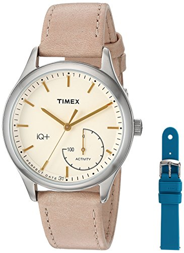 Timex Women's TWG013500 IQ+ Move Activity Tracker Tan Leather Strap Smart Watch Set With Extra Teal Silicone Strap (Strap Tan Watch Leather)