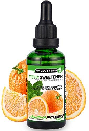 ALPHAPOWER FOOD® Stevia Flavour Drops Set,flüssig - liquid 5x50ml Aroma Apfelsaft Schorle, Orangensaft, Kaffee, Cola, Lemon Lebensmittel Konzentrat & Geschmackstropfen, Flavdrops zum Essen & Backen