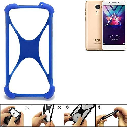 K-S-Trade Bumper für Coolpad Cool S1 Silikon Schutz Hülle Handyhülle Silikoncase Softcase Cover Case Stoßschutz, blau (1x)