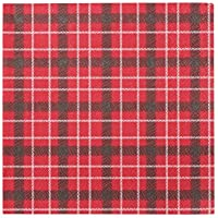 Talking Tables Botanical Santa Tartan Napkin for Christmas Day, Dinner and Party, 33cm (20 Pack)
