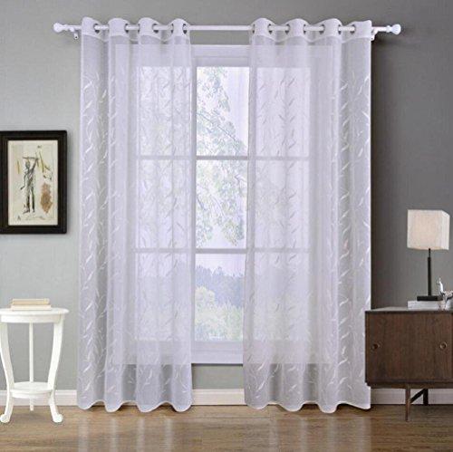 GWFVA Kleine, frische, weiße Gardinen für Balkonfenster im Set mit 2 Teilen, 140x260 cm