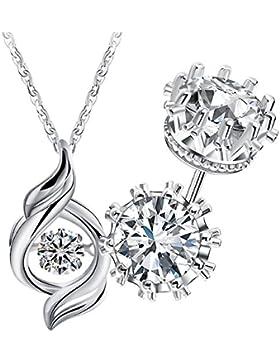 Anhänger für Damen Silber 925 Schmuckset 45cm 3A Zirkonia Ohrschmuck Halskette Silber Ohrringe Mädchen Frau Set...