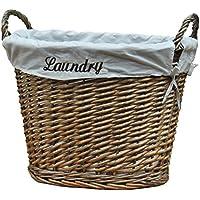 Vintiquewise cesto de la ropa sucia (mimbre con forro blanco, gris