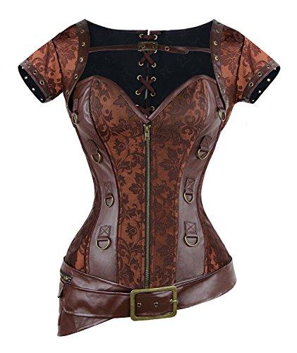 Charmian - Corset décoletté en cuir synthétique, ceinture, style Moyen Âge, manches...