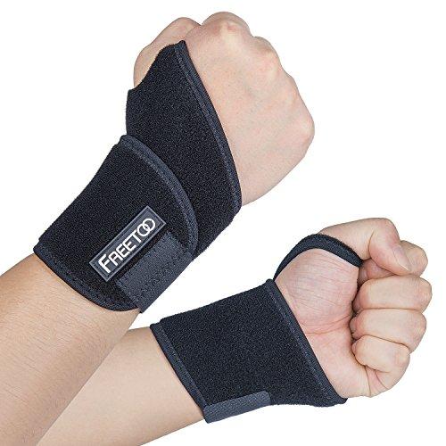 [Handgelenkbandage] FREETOO Handgelenkstütze verstellbare Handbandage Handgelenkschoner zur wirkungsvollen Unterstützung und Entlastung Wrist Wraps für Alltag Fitness und Kraftsport beide Hände gültig (2 pack)