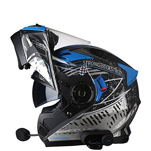 Gtyw casco per motociclisti casco per incrociatore casco per città scooter auricolare bluetooth casco sportivo moto casco certificazione ece casco di sicurezza,b-xxl(63-65cm)