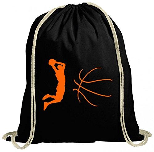 Shirt Happenz Basketball Premium Turnbeutel Basketball- Hobby Leidenschaft Gymbag, Farbe:Schwarz (Gymbeutel);Größe:37cm x 46 cm